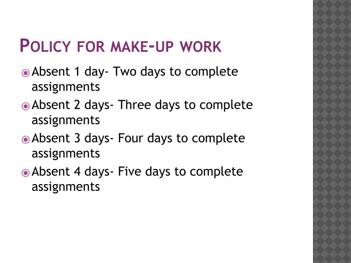 Policy for make up work