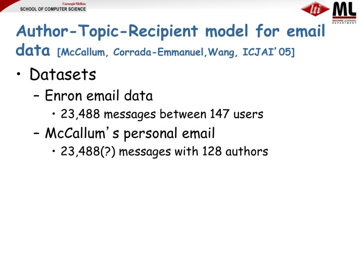 Author-Topic-Recipient model for email data