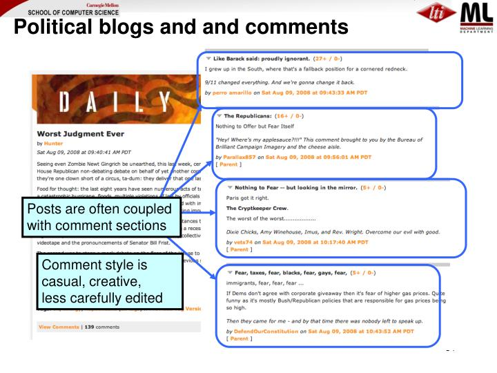 Political blogs and and comments