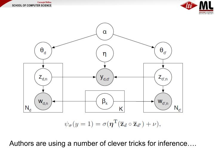 Authors are using a number of clever tricks for inference….