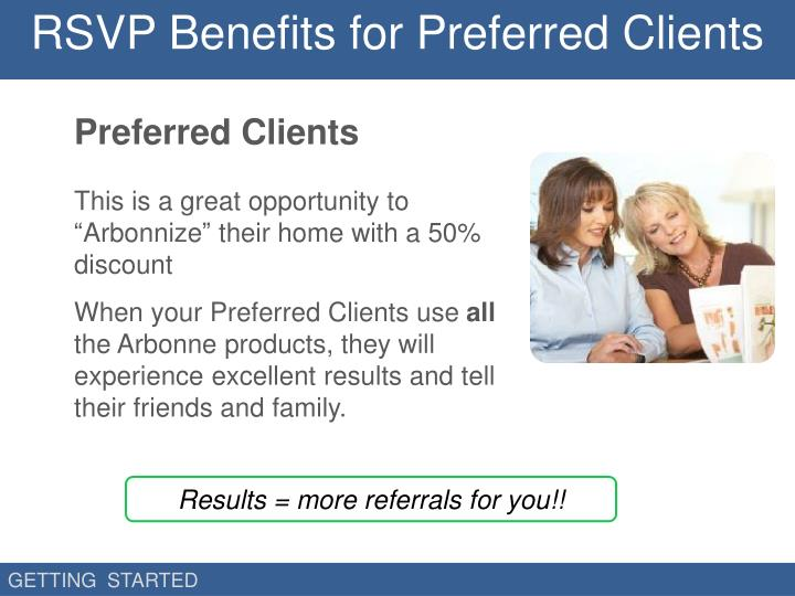 RSVP Benefits for Preferred Clients
