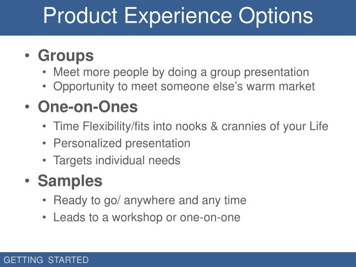 Product Experience Options