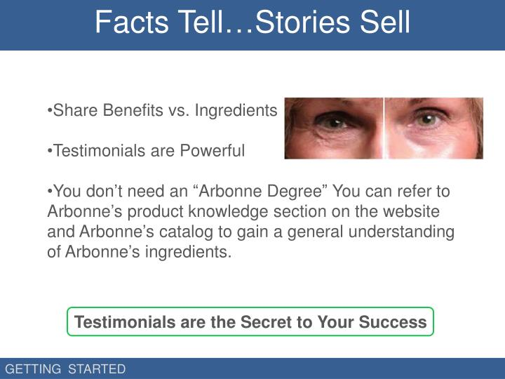 Facts Tell…Stories Sell