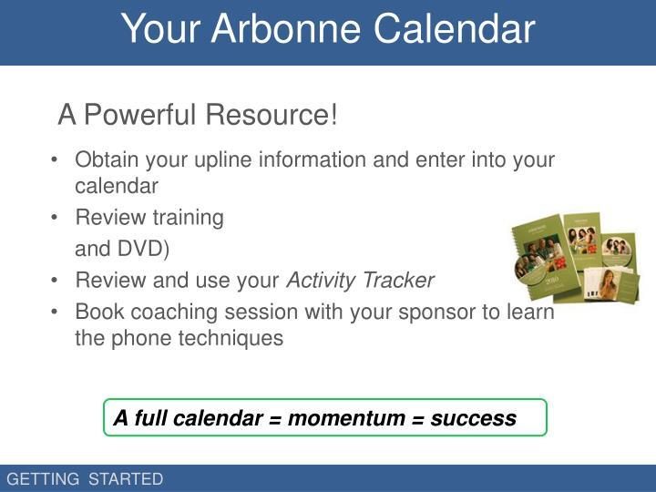 Your Arbonne Calendar