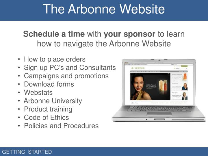 The Arbonne Website