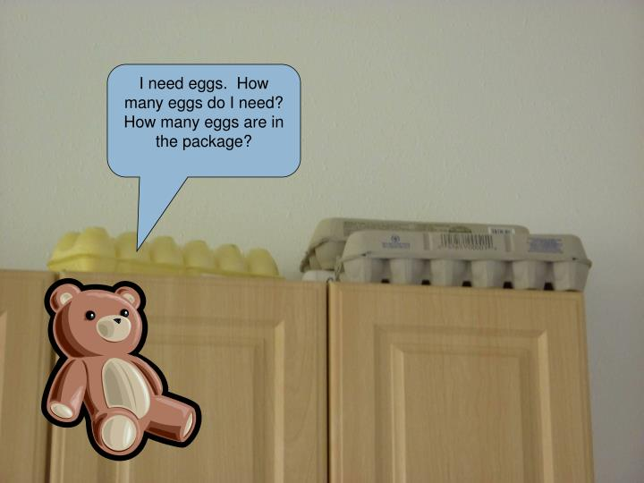 I need eggs.  How many eggs do I need?  How many eggs are in the package?
