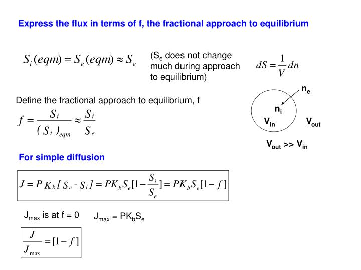 Express the flux in terms of f, the fractional approach to equilibrium
