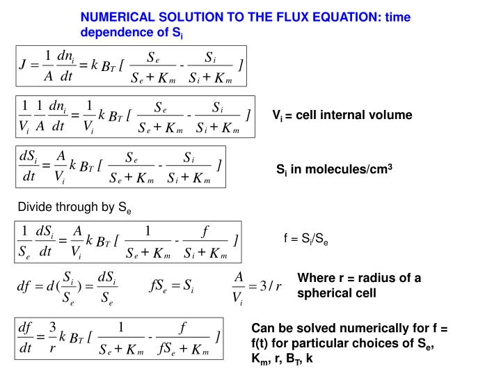 NUMERICAL SOLUTION TO THE FLUX EQUATION: time dependence of S