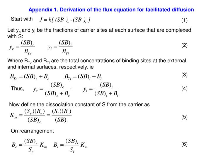 Appendix 1. Derivation of the flux equation for facilitated diffusion