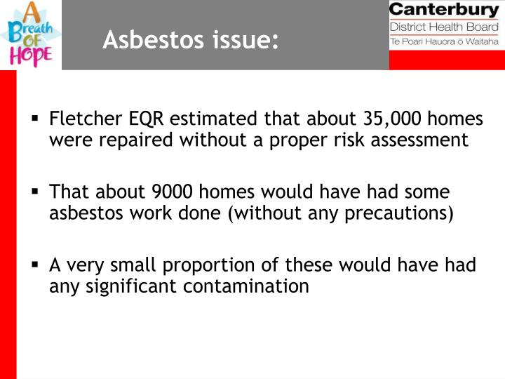 Asbestos issue: