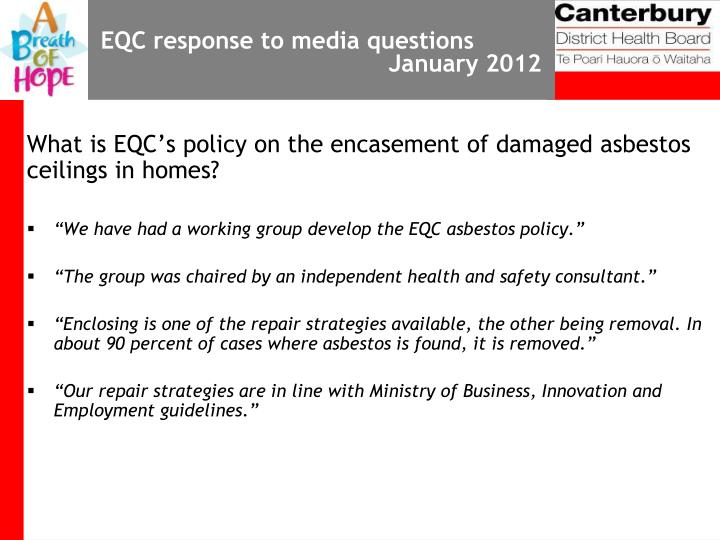 EQC response to media questions