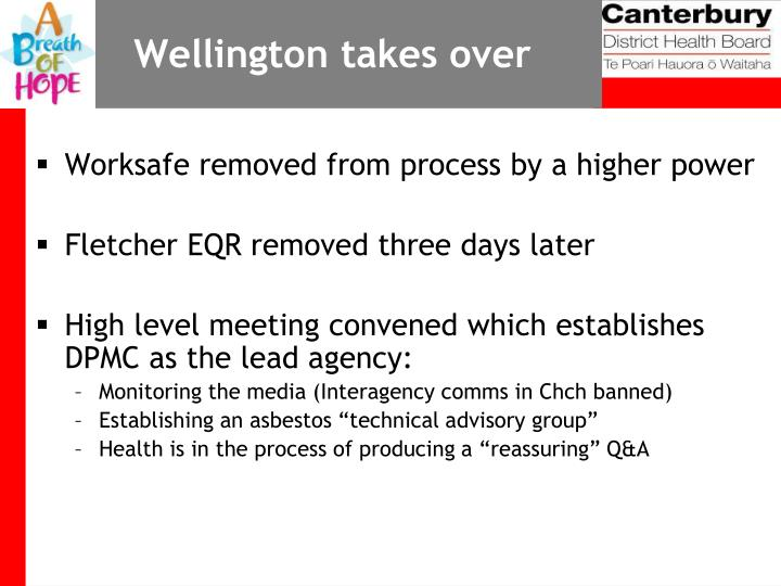 Wellington takes over
