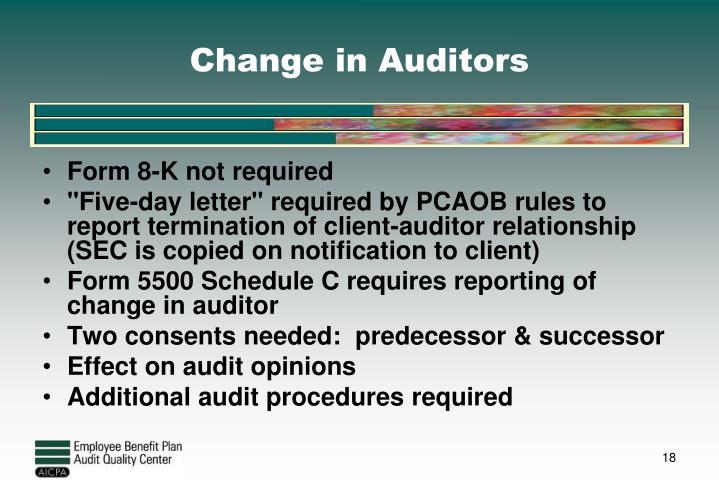 Change in Auditors