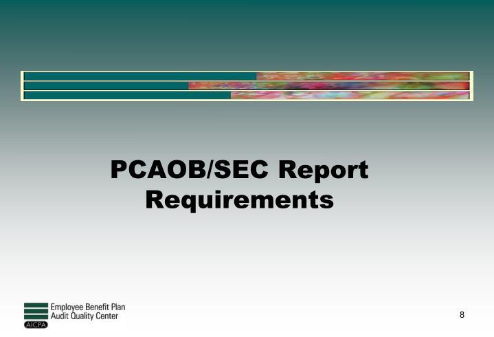 PCAOB/SEC Report Requirements