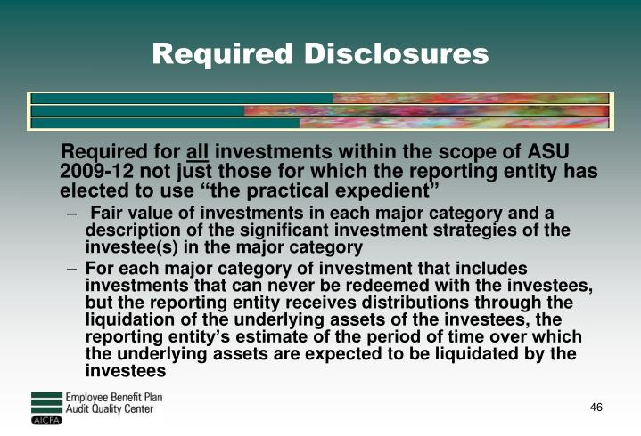 Required Disclosures