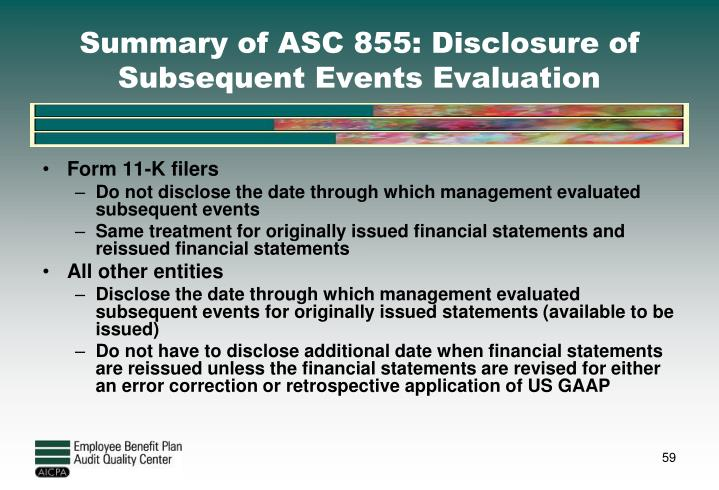 Summary of ASC 855: