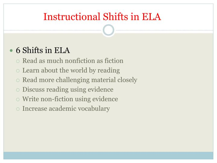 Instructional Shifts in ELA