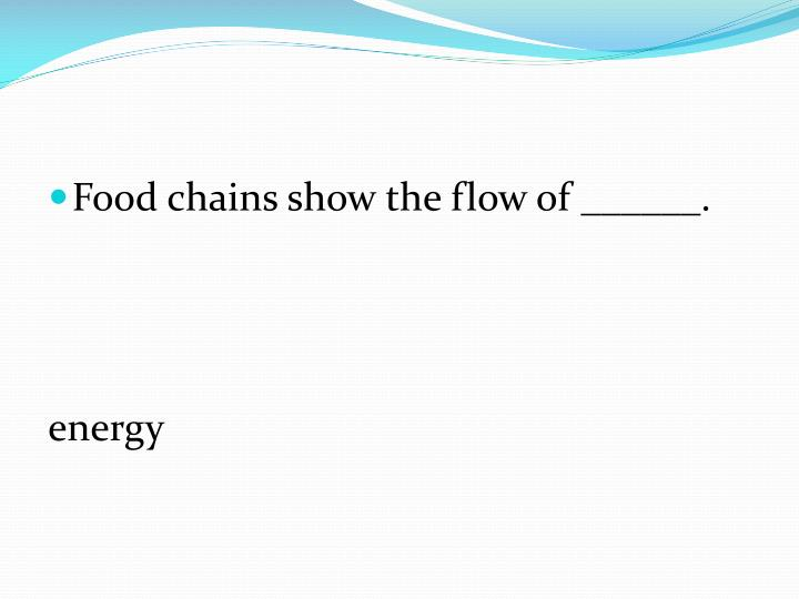 Food chains show the flow of ______.