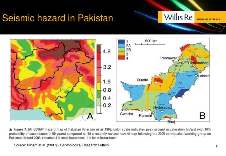 Seismic hazard in Pakistan