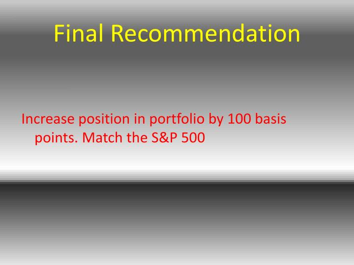 Final Recommendation