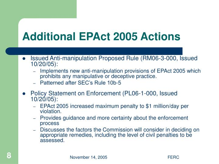 Additional EPAct 2005 Actions