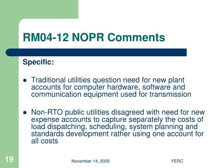 RM04-12 NOPR Comments