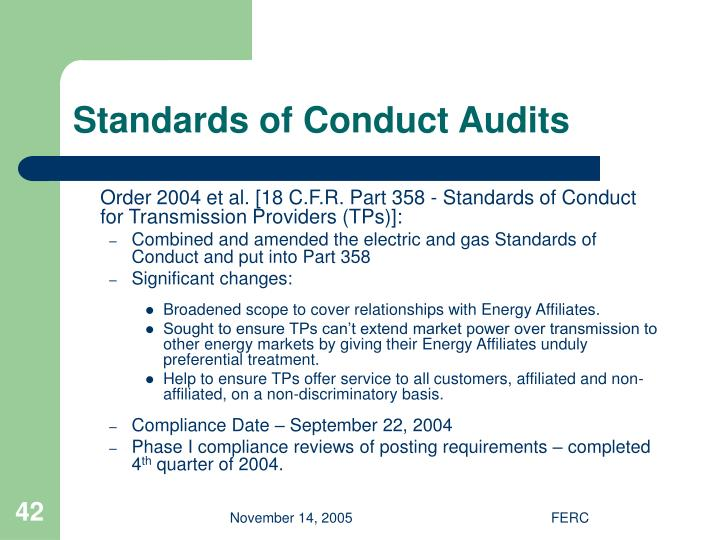 Standards of Conduct Audits
