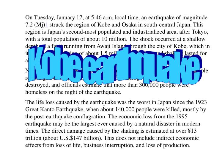 On Tuesday, January 17, at 5:46 a.m. local time, an earthquake of magnitude 7.2 (Mj)