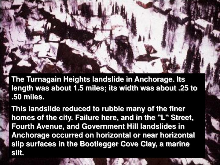 The Turnagain Heights landslide in Anchorage. Its length was about 1.5 miles; its width was about .25 to .50 miles.