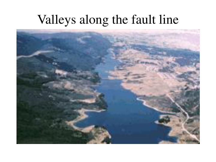 Valleys along the fault line