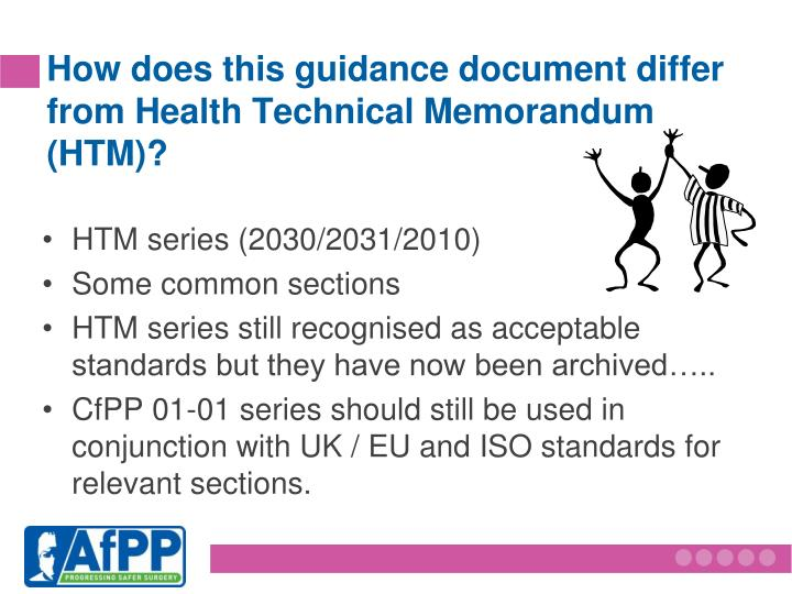 How does this guidance document differ from Health Technical Memorandum (HTM)?