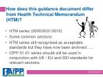 how does this guidance document differ from health technical memorandum htm