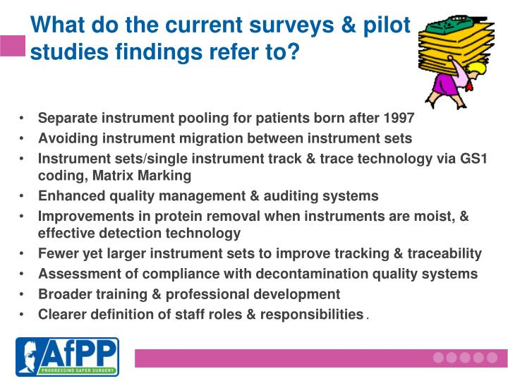 What do the current surveys & pilot studies findings refer to?