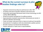 what do the current surveys pilot studies findings refer to