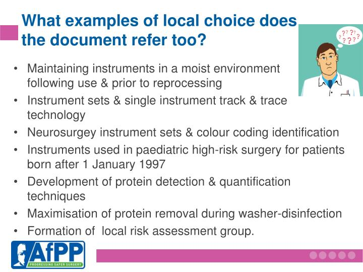 What examples of local choice does    the document refer too?