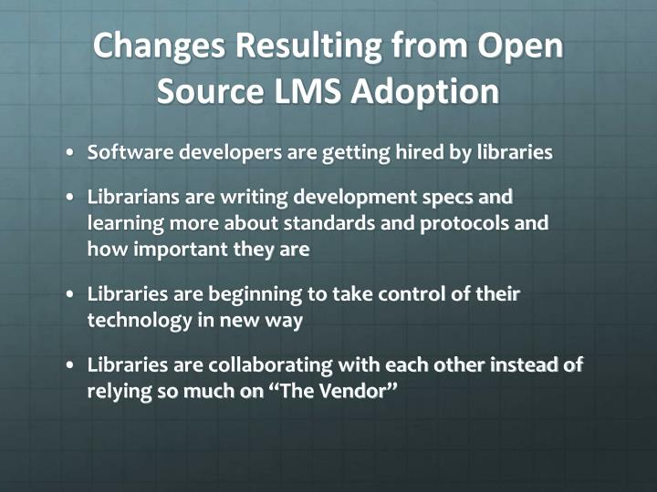 Changes Resulting from Open Source LMS Adoption