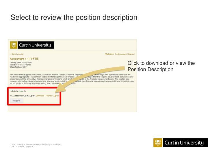 Select to review the position description