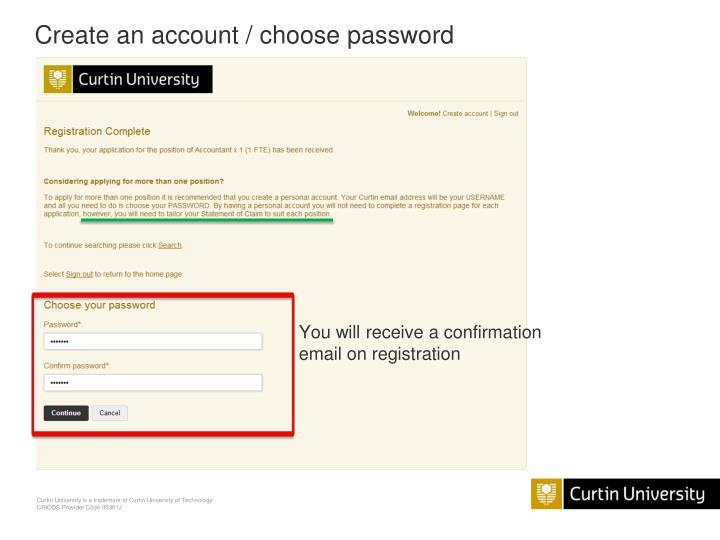 Create an account / choose