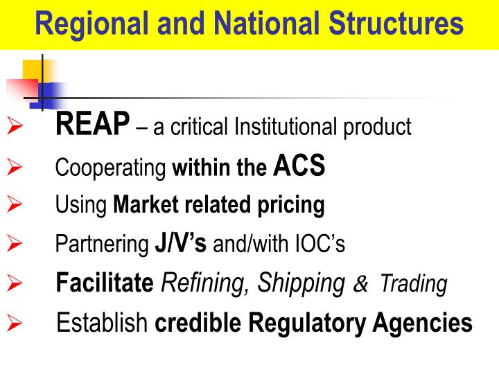 Regional and National Structures