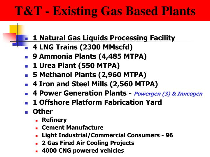 T&T - Existing Gas Based Plants
