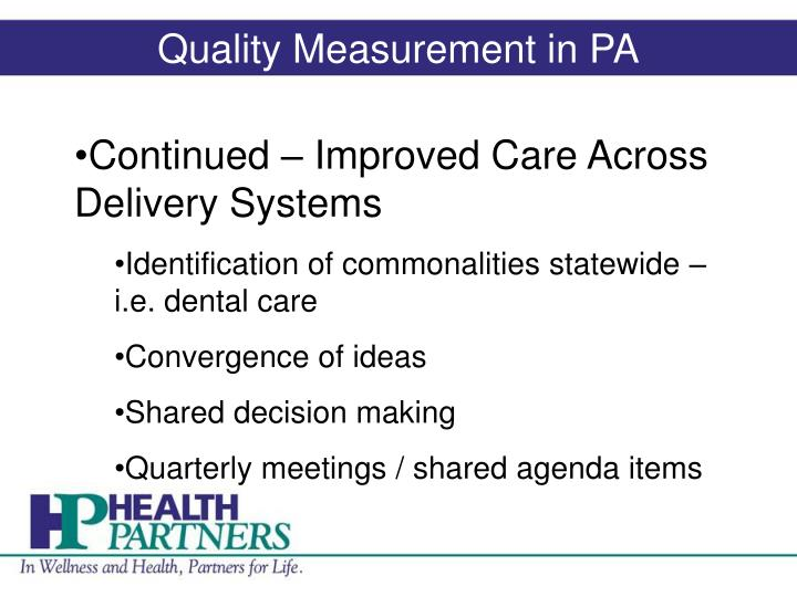 Quality Measurement in PA