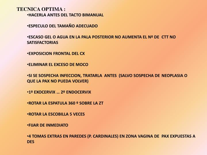 TECNICA OPTIMA :