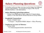 salary planning questions