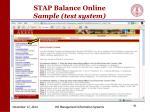stap balance online sample test system