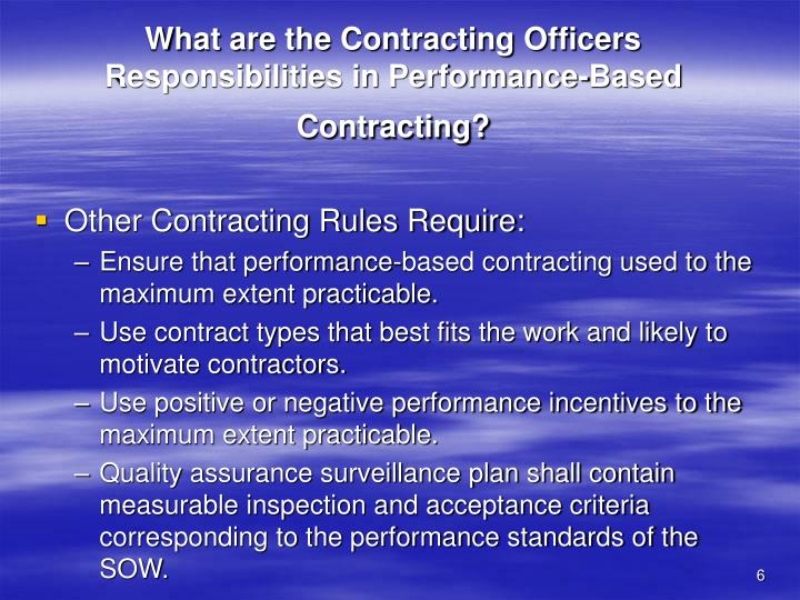 What are the Contracting Officers Responsibilities in Performance-Based Contracting?