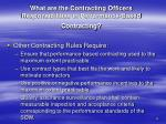 what are the contracting officers responsibilities in performance based contracting