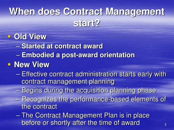 When does Contract Management start?
