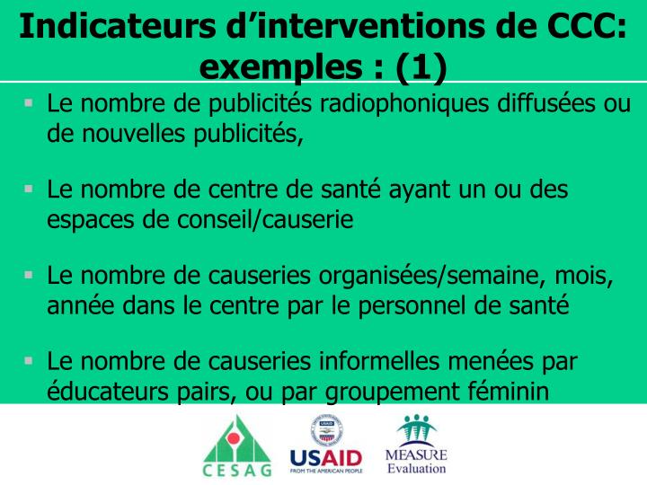 Indicateurs d'interventions de CCC: exemples : (1)