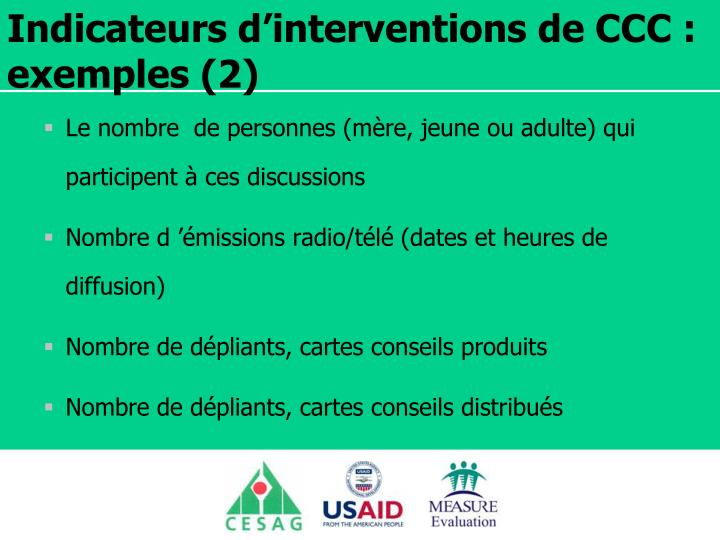 Indicateurs d'interventions de CCC : exemples (2)