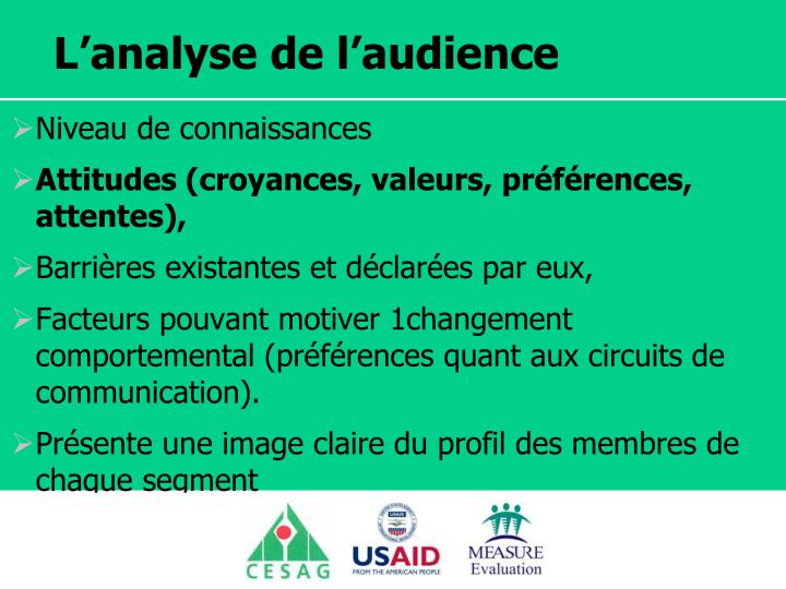 L'analyse de l'audience